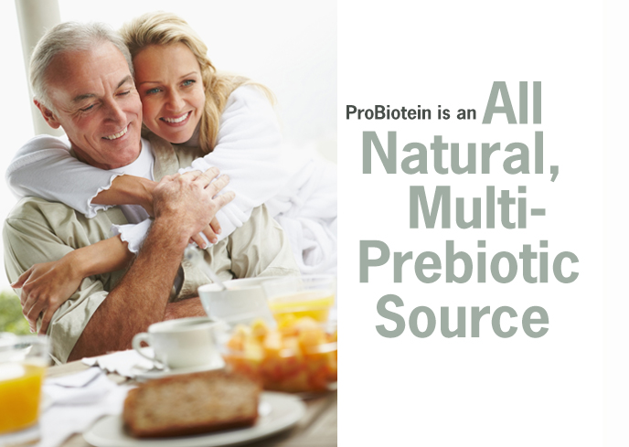 ProBiotein is an all natural multi-prebiotic source with four prebiotic fibers and four digestive enzymes.