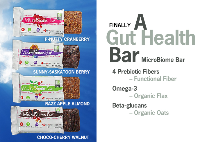MicroBiome Bar. A prebiotic fiber and gut health bar.